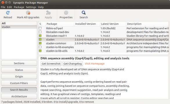 Installing Staden on Ubuntu 16.04