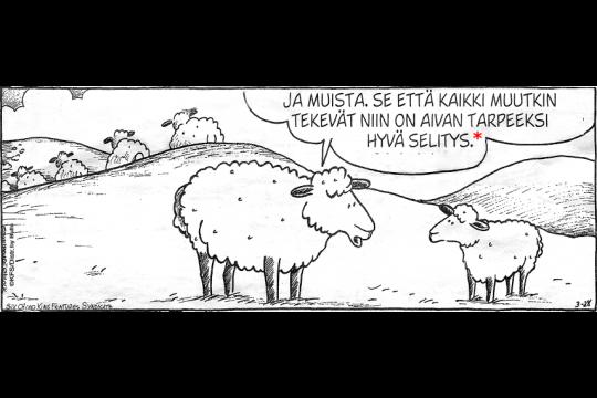 Comic strip with sheep