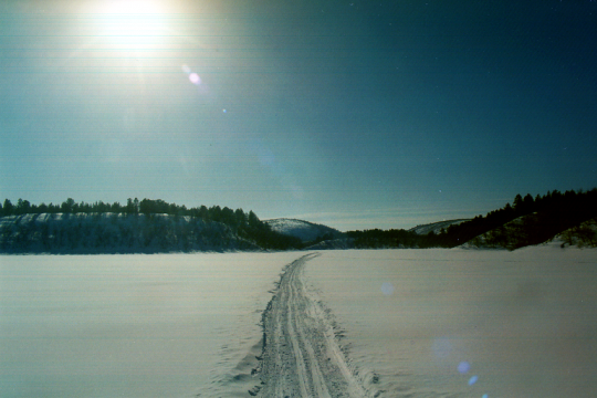 Cross country skiing tracks in Finnish Lapland